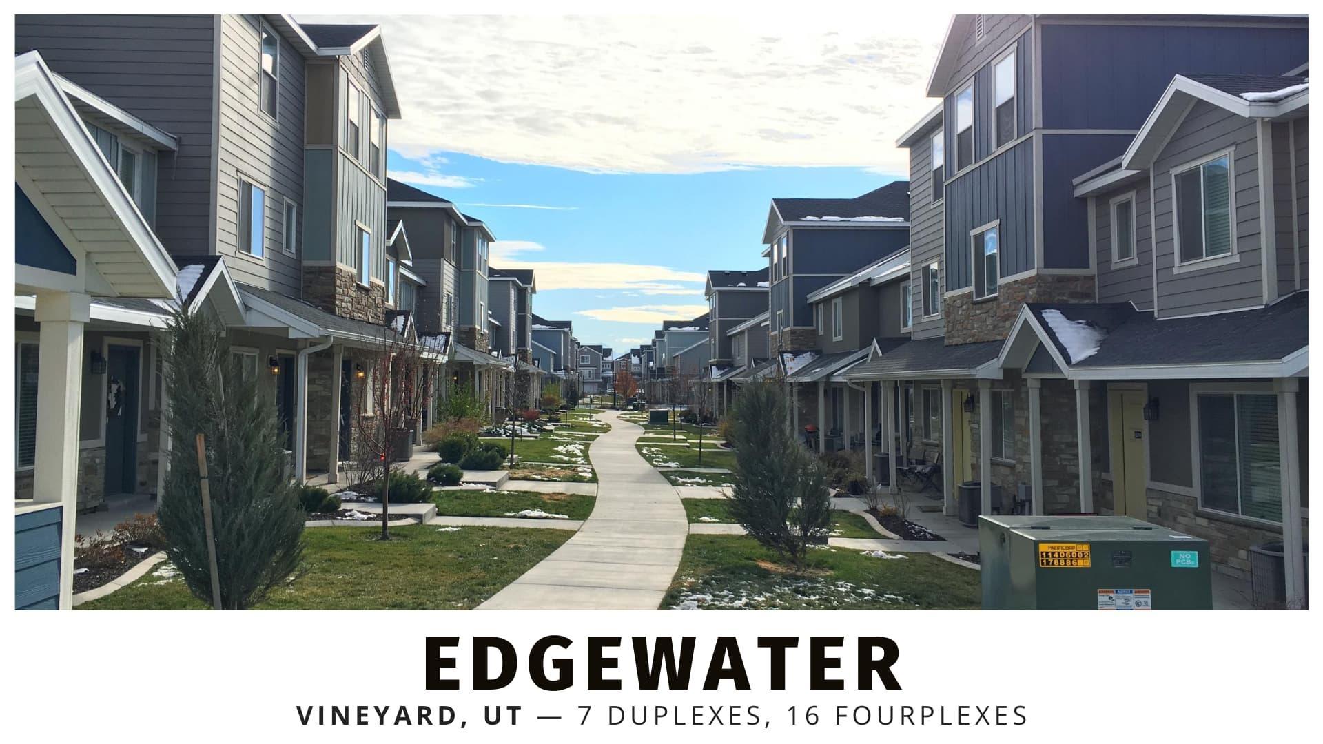 Edgewater fourplexes and duplexes in Vineyard, Utah