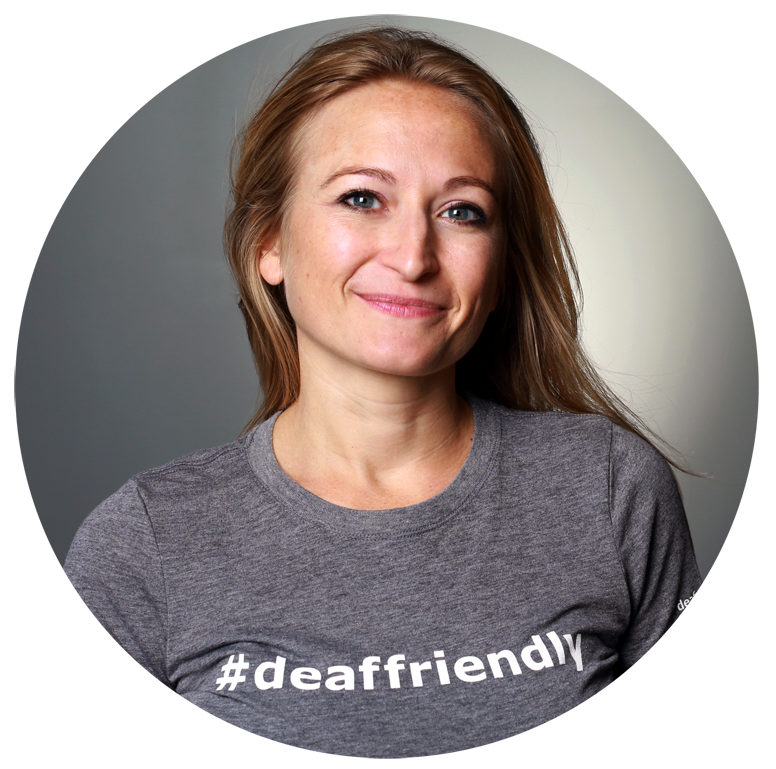 echo with a gray #deaffriendly tee
