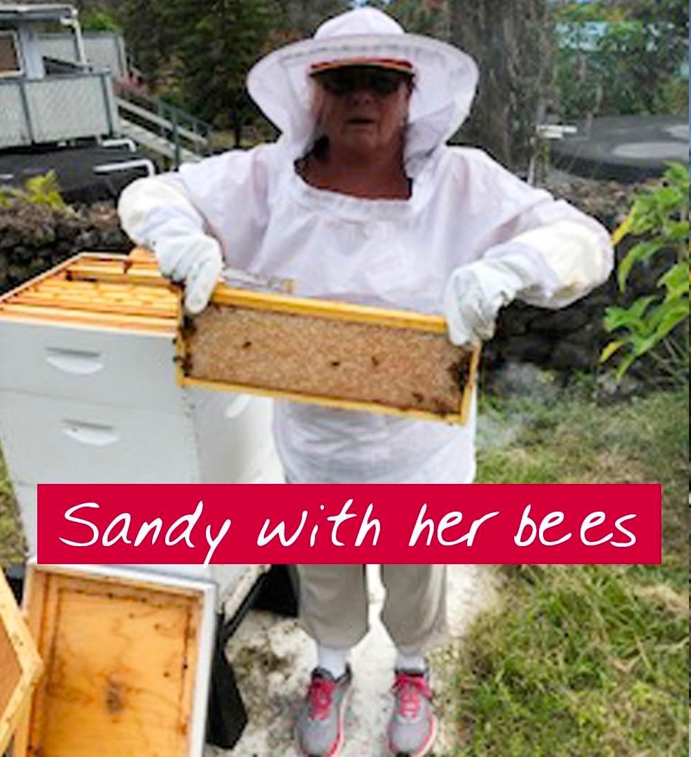 sandy with her first beehive