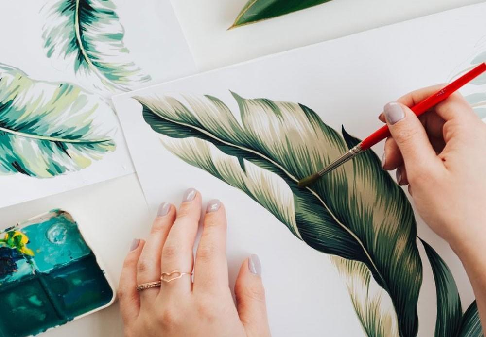 Painting a tropical leave motif for textile design at The Print School by Longina Phillips Designs