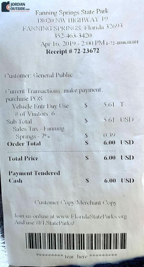 Fanning Springs State Park Receipt