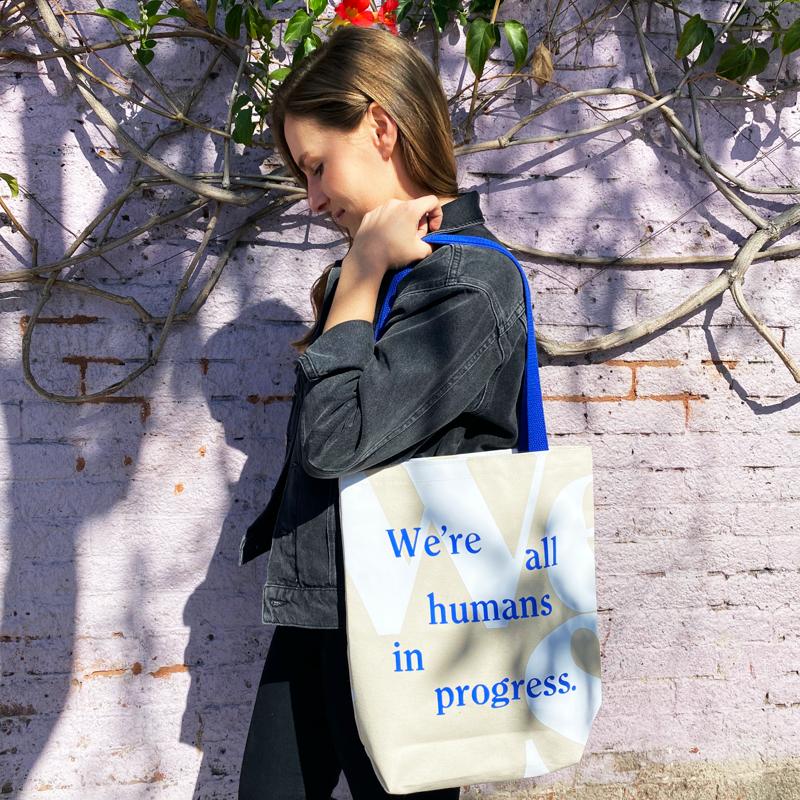 wellness branding agency wellset branding visual design we're all humans in progress tote bag vero packaging visual brand presence