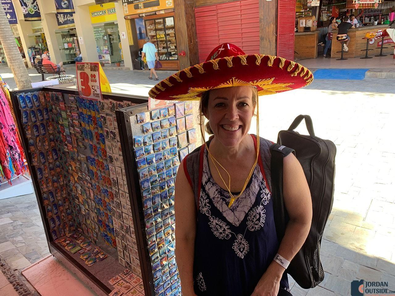 Julie wearing a Mexican Hat