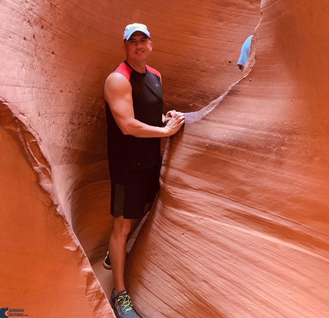Tight squeeze at Lower Antelope Canyon