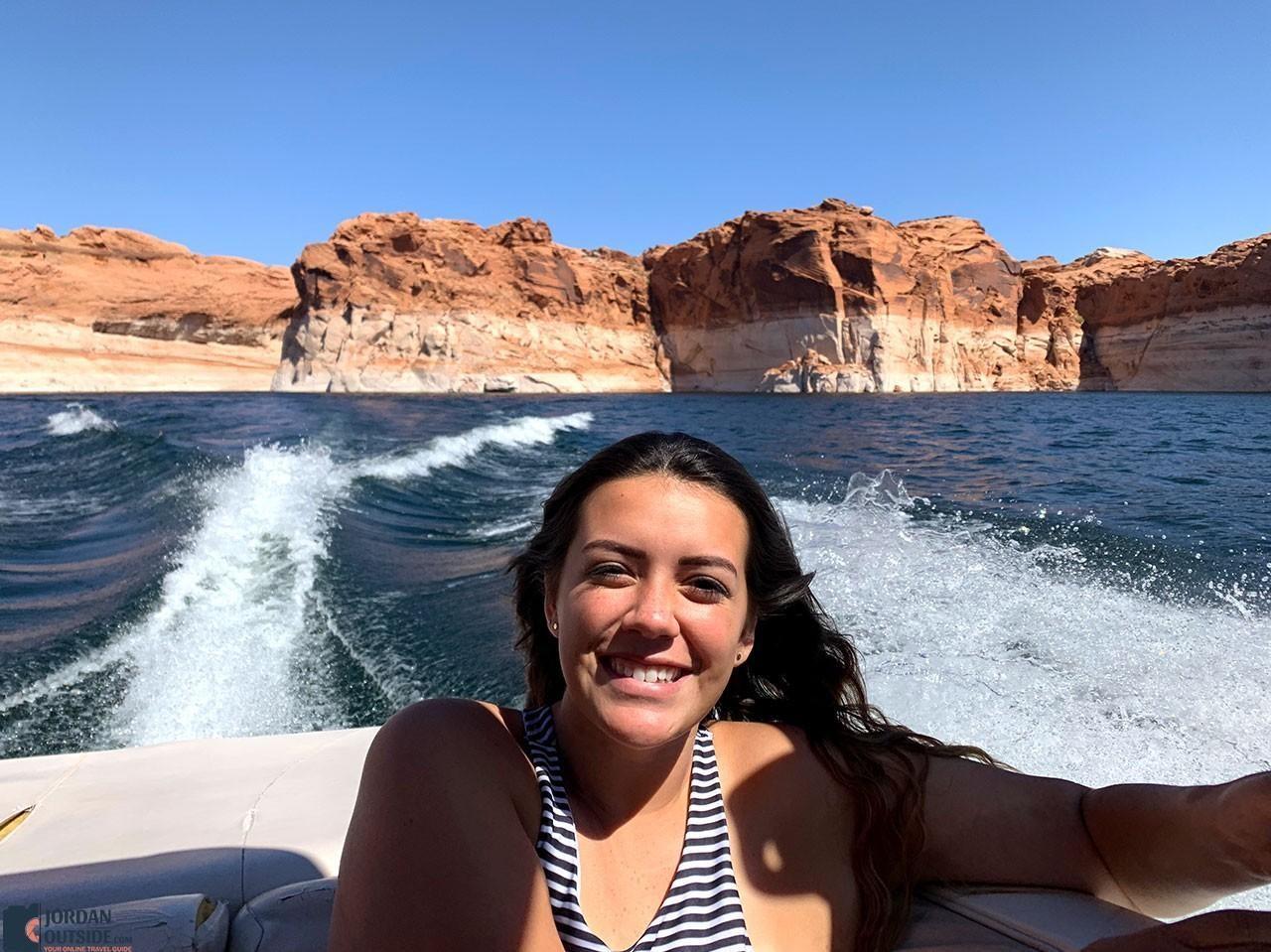 Ember boating at Lake Powell