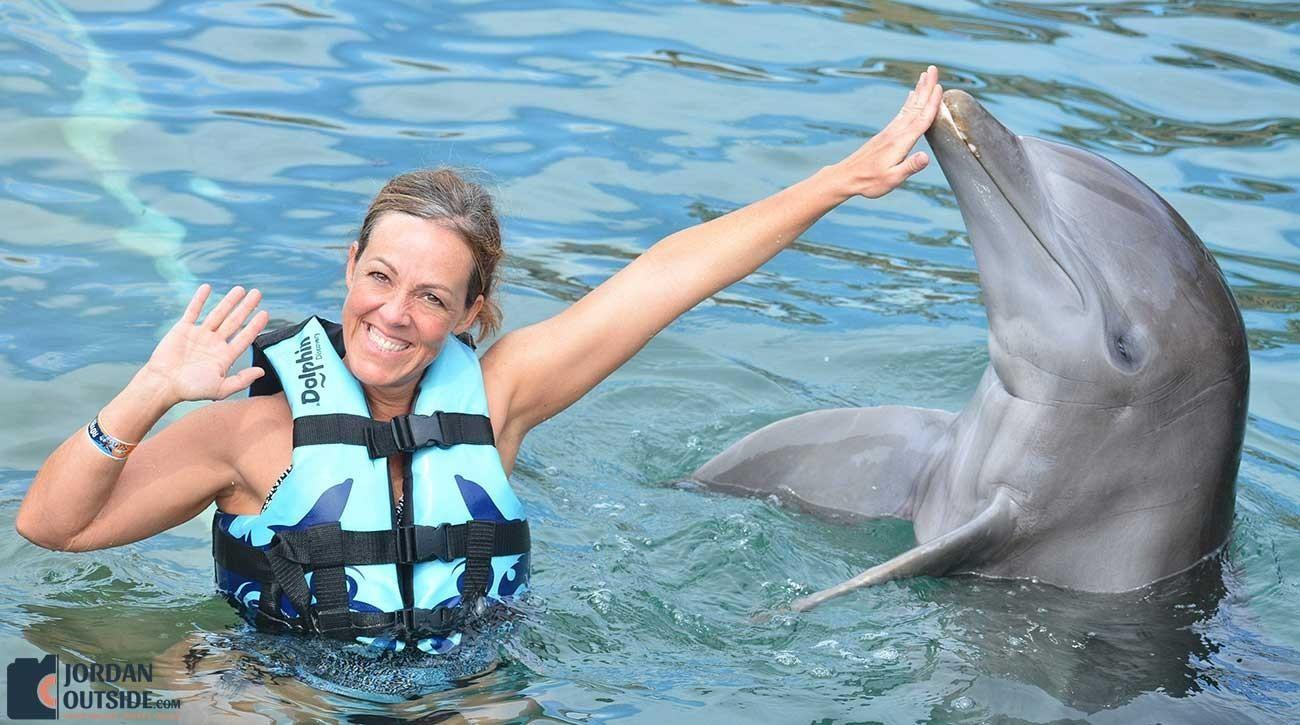 Dolphin touching Julie's hand