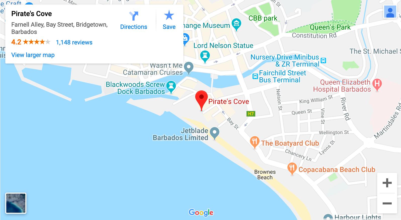 Pirate's Cove, Carlisle Bay, Barbados Map