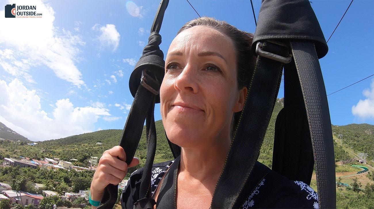 Julie on the Flying Dutchman Zip Line