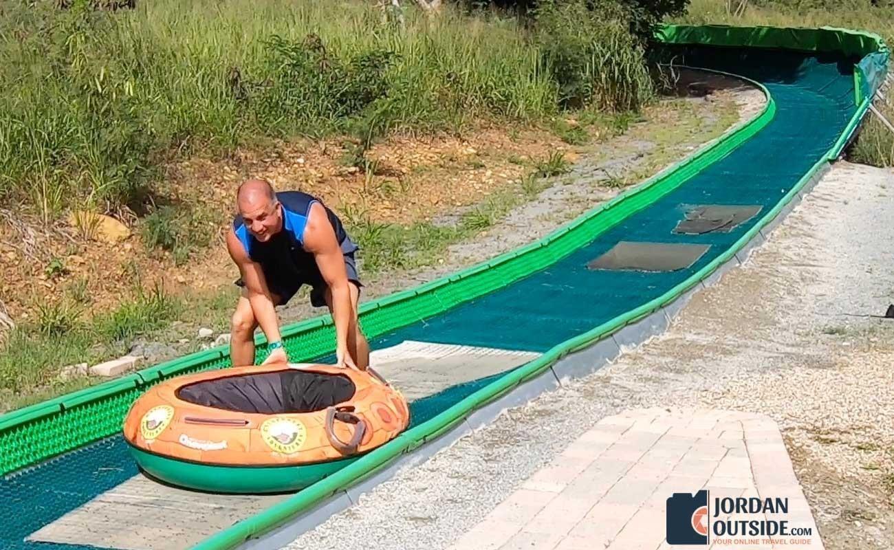 Jordan pushing tube on schooner ride