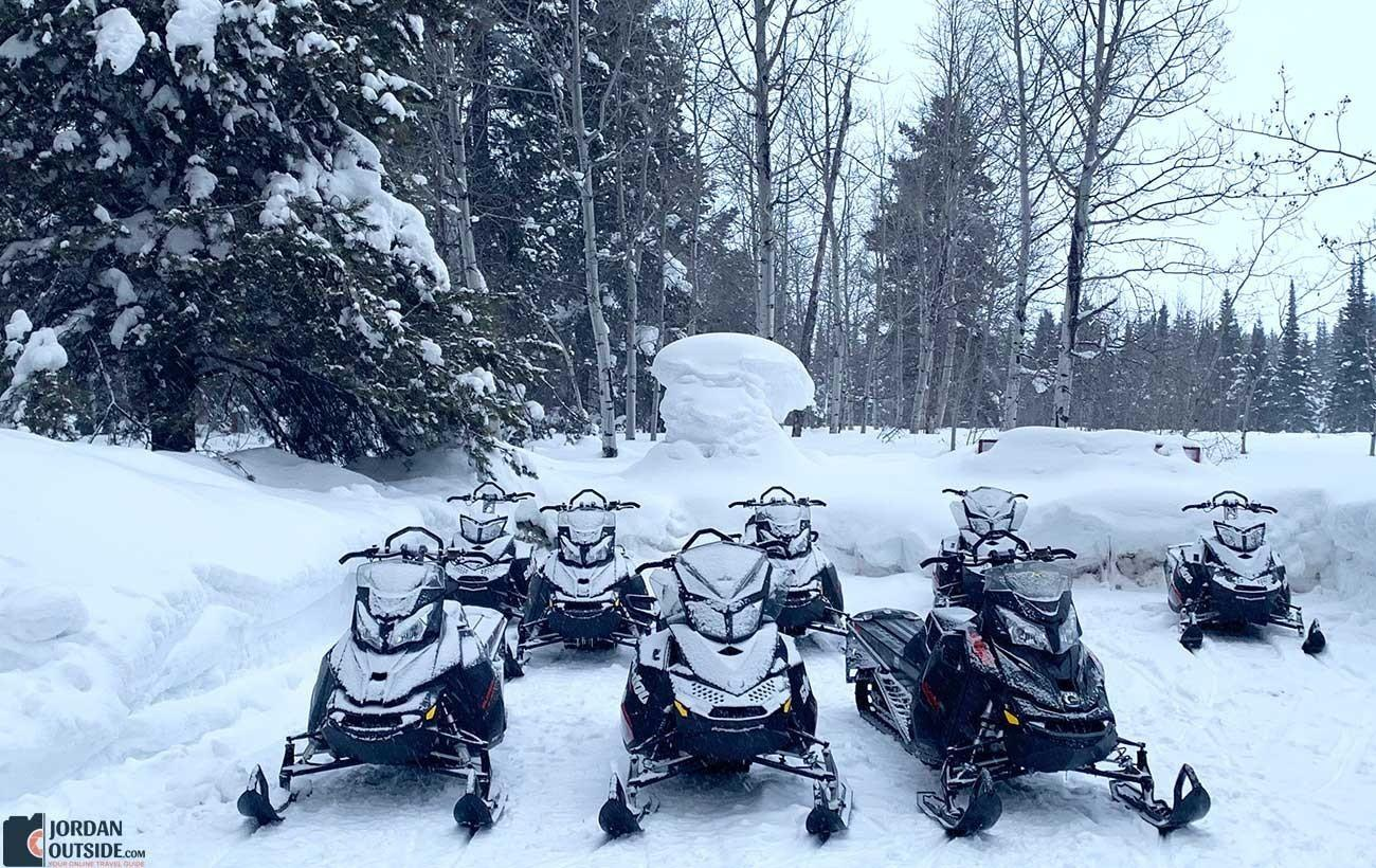 Snowmobiles at Island Park