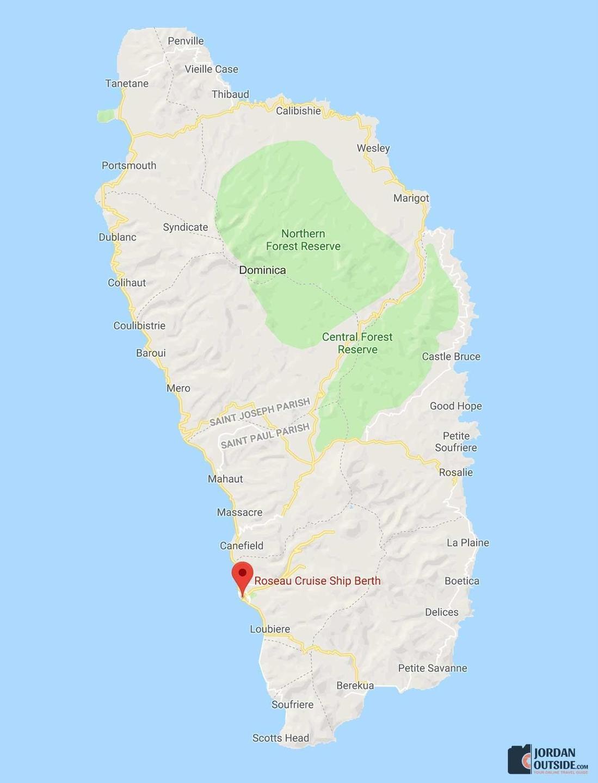 Roseau, Dominica Map