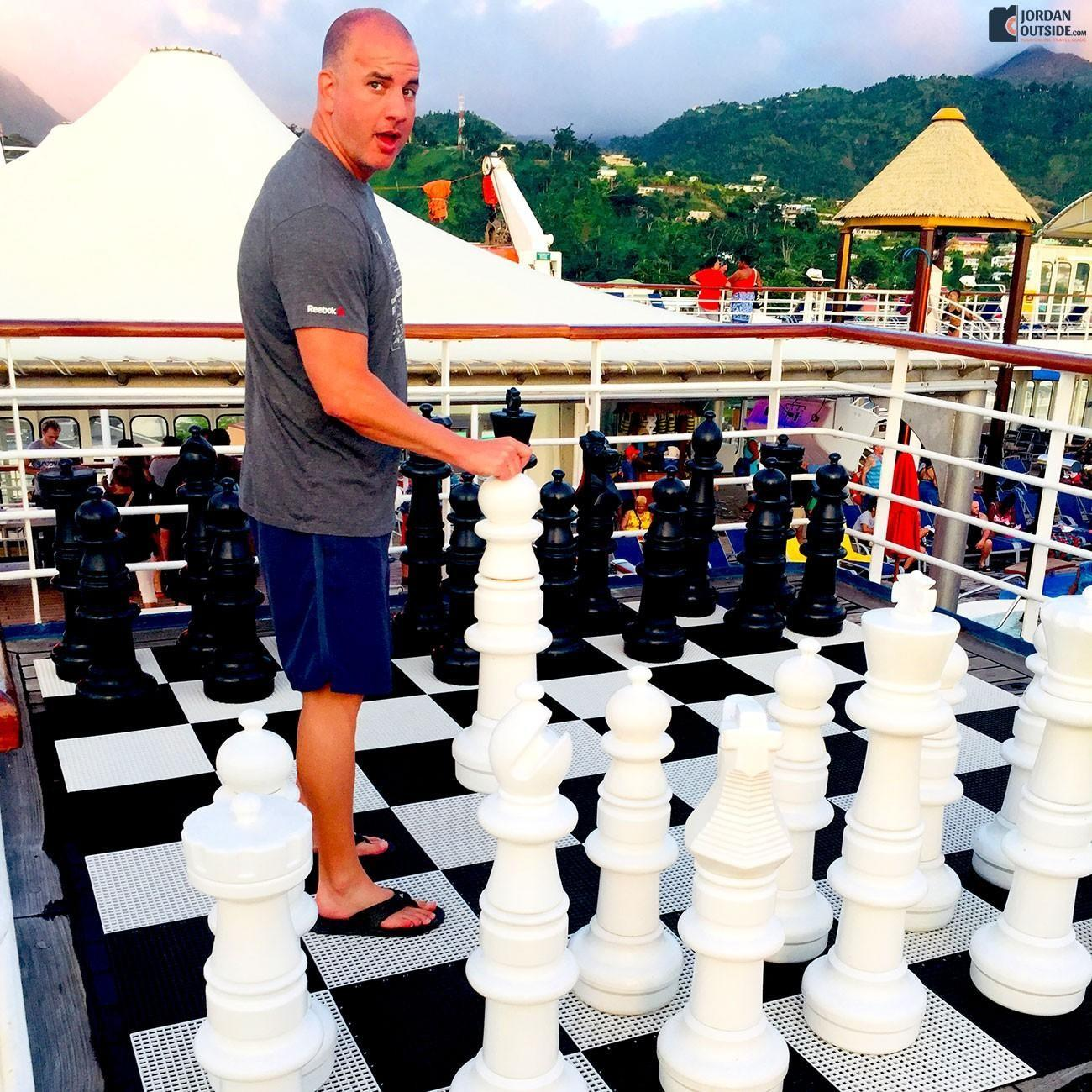 Life size chess on the cruise ship