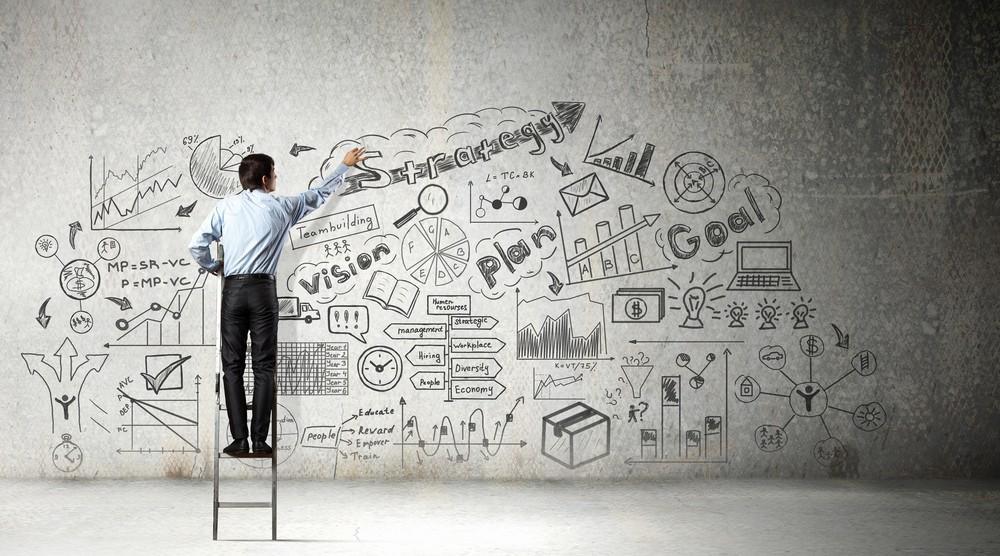 businessman ladder growth plan leadership transition