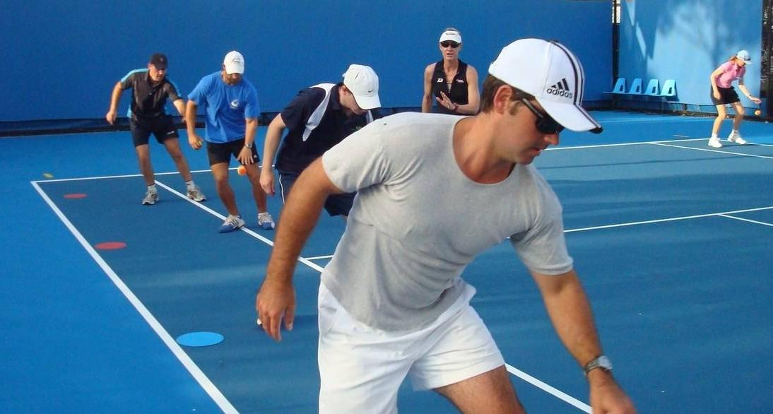 Group tennis fitness class with Michele Krause