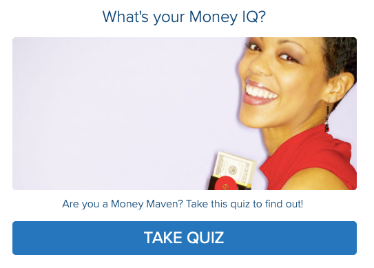 Woman of color holding money for money quiz