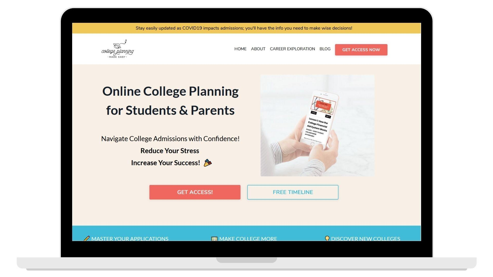 College Planning Made Easy Website image
