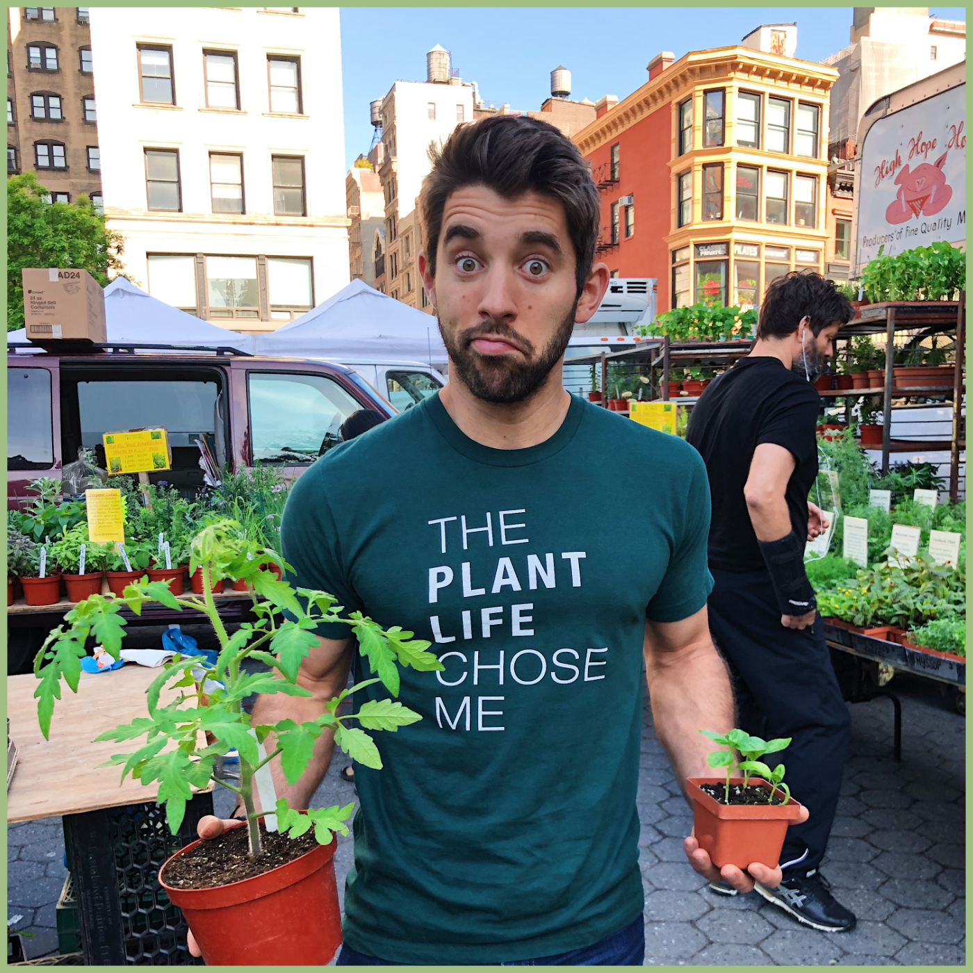 Farmer Nick photo with a plant for Viva La Flora Live Podcast