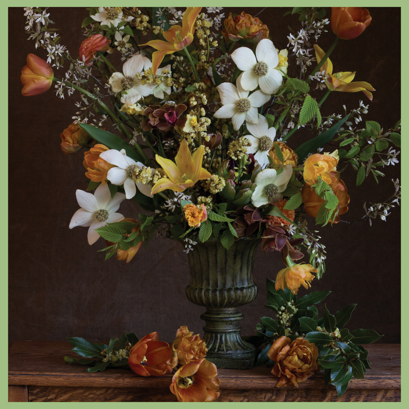 Floral arrangement white and orange flowers