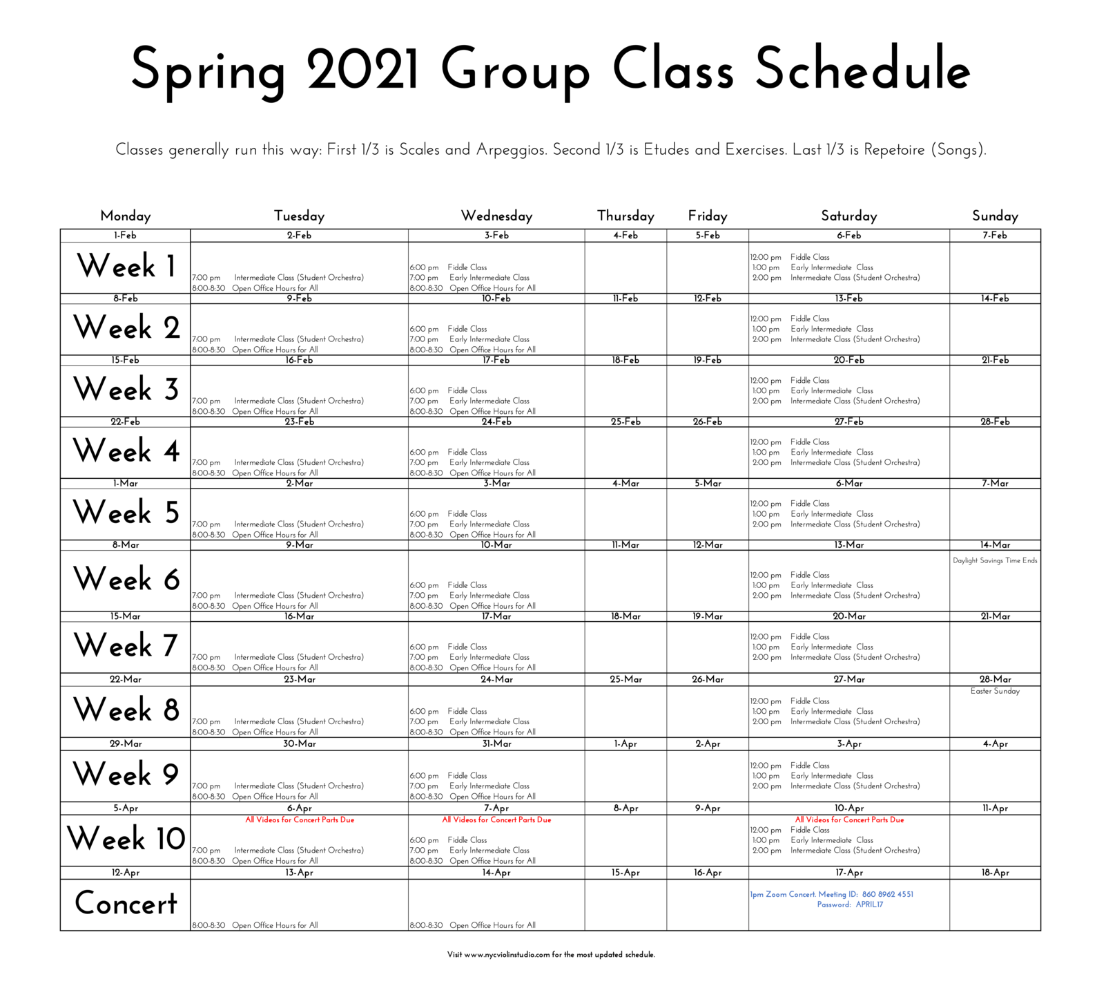 Spring 2021 Group Violin Class Schedule