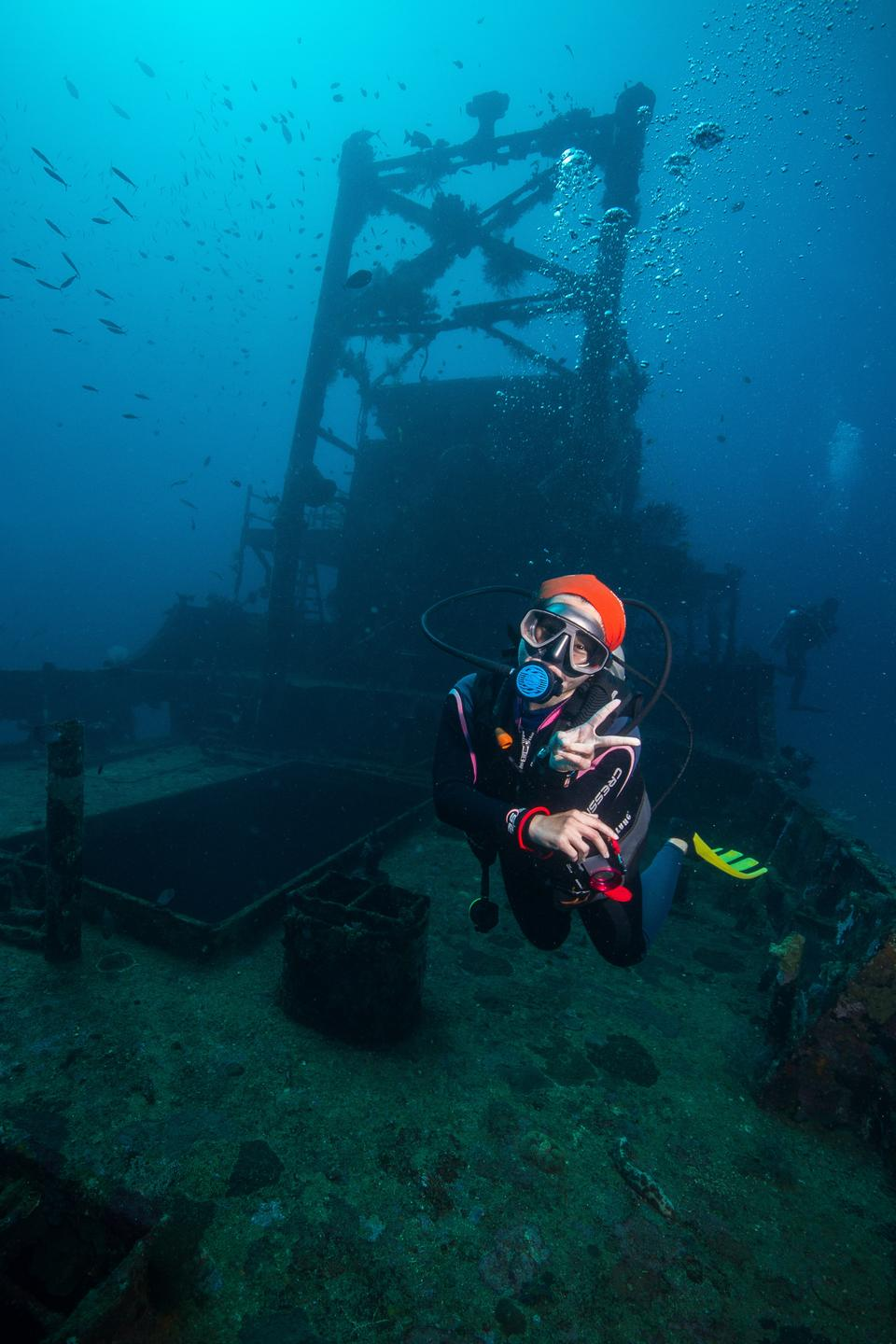 Scuba diver on the Camia wreck in The Philippines
