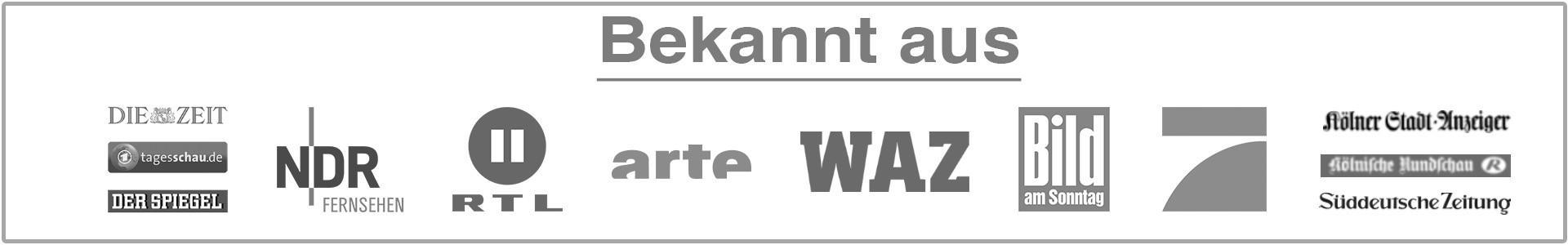 Bekannt aus Pro7 Ndr RTL Arte WAZ BAMS Die Zeit Tagesschau.de Der Spiegel