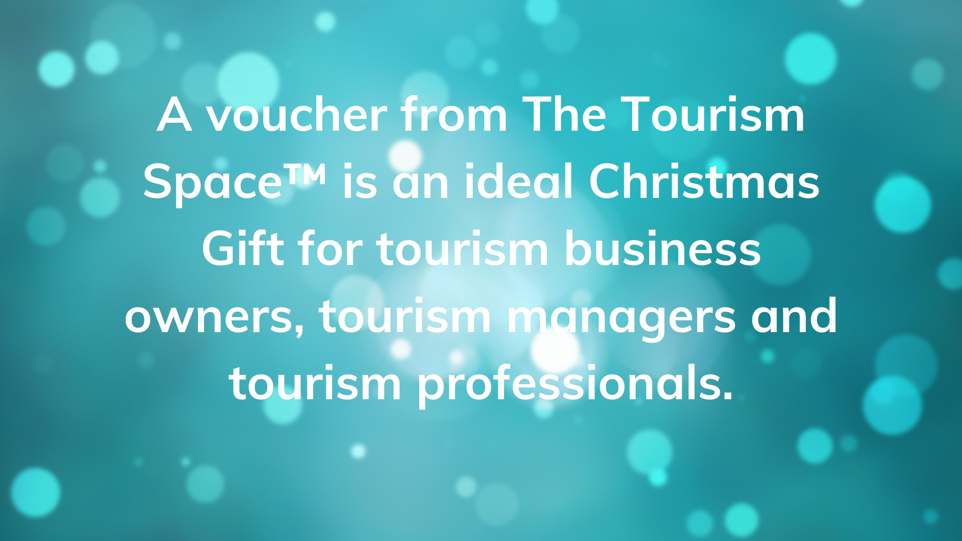 The Tourism Space Voucher is a Christmas Gift for tourism business owners, tourism managers and tourism professionals