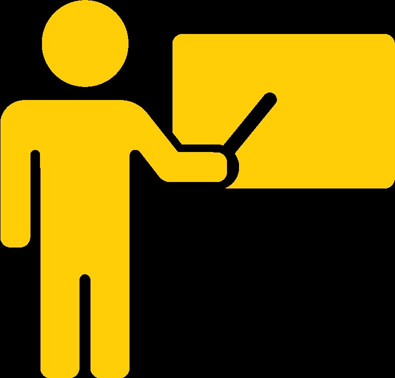 teacher at blackboard icon