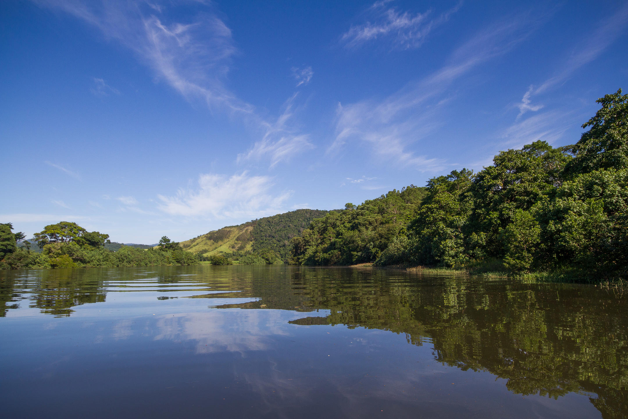 Blue sky and rolling green hills covered with trees are reflected in the calm waters of The Daintree River