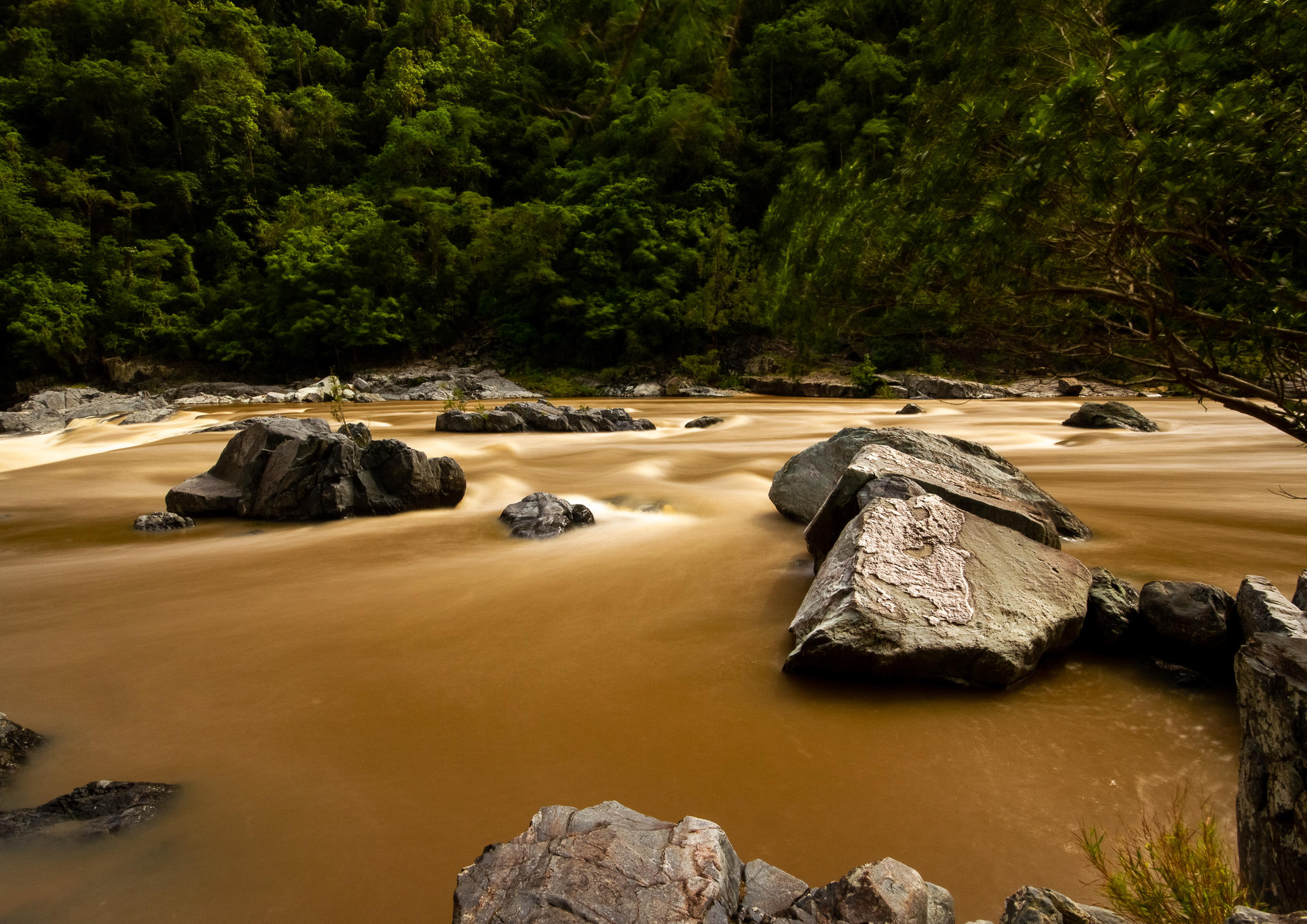 Long exposure shot of the Barron River makes it look like chocolate