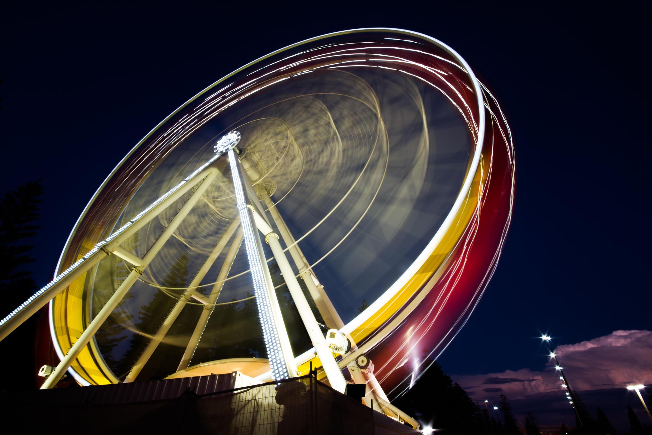 Long exposure of a ferris wheel