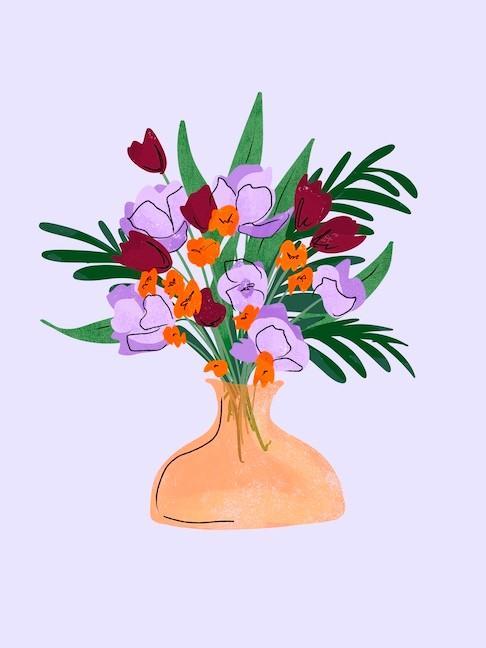 boho flower bouquet art