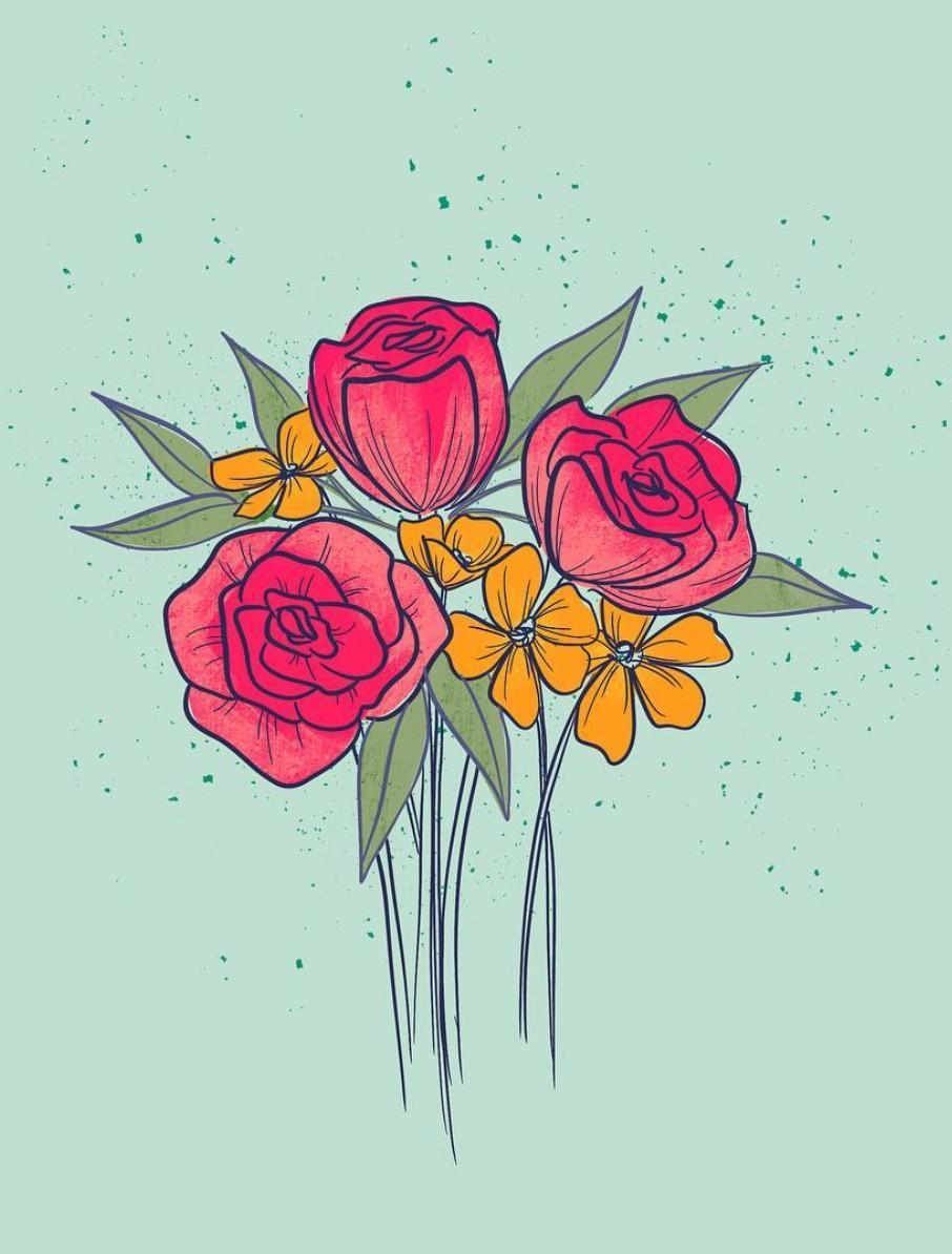bright flower bouquet art
