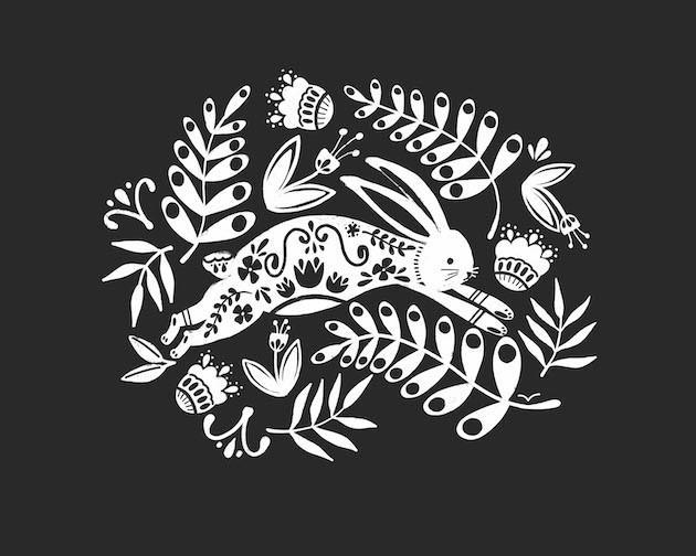 Rabbit folk art