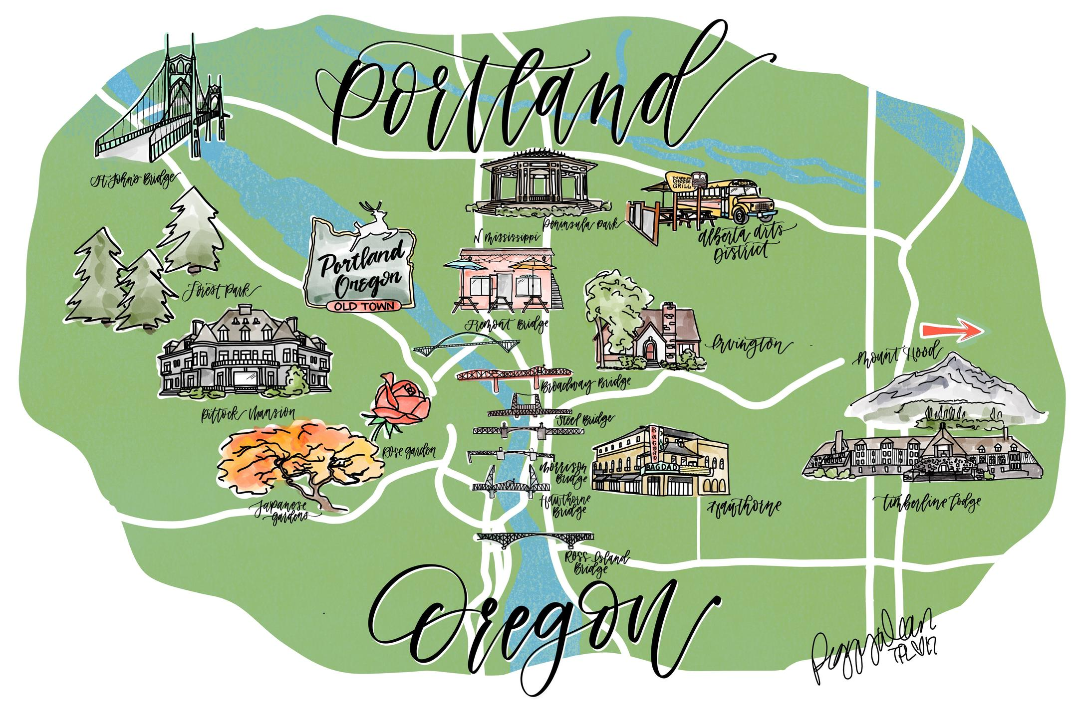 portland map drawing
