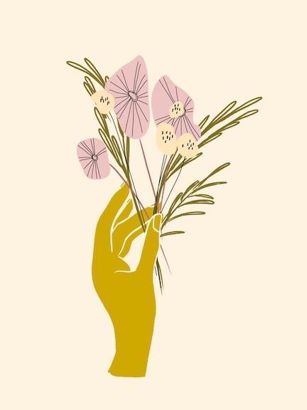 hand flowers art