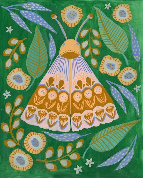 moth folk art butterfly