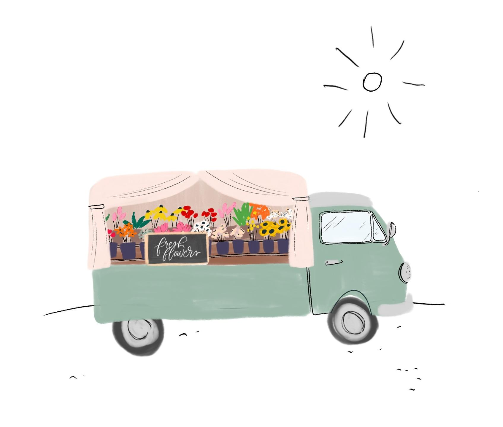flower truck drawing