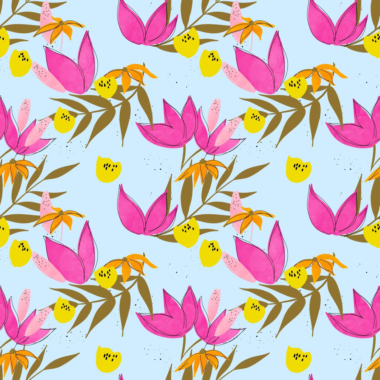 hot pink flower pattern