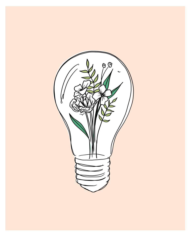 lightbulb flowers art
