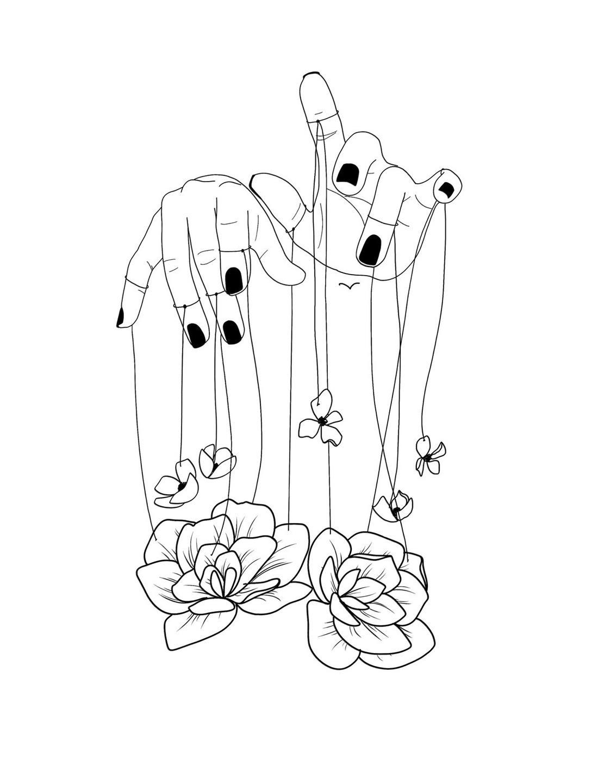 flower puppet illustration