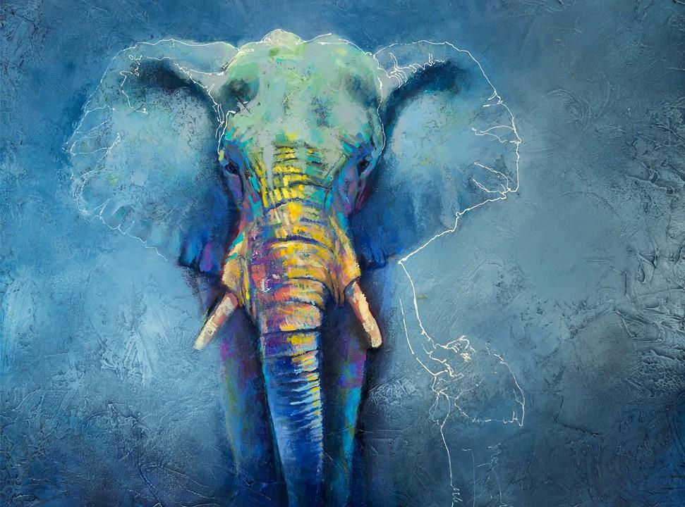 Bold colorful elephant painting