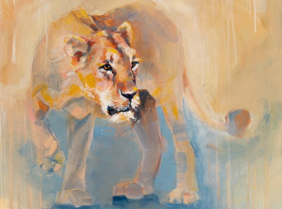 Bold Lioness painting by Charla Maarschalk