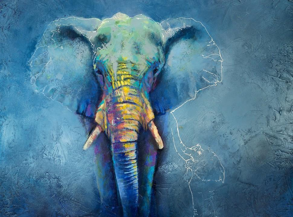Mother and baby elephant painting