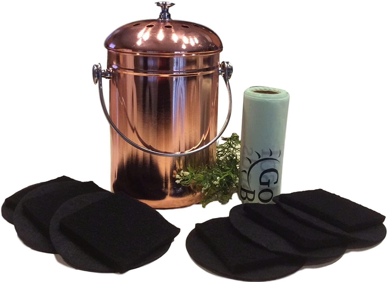 copper kitchen compost bin
