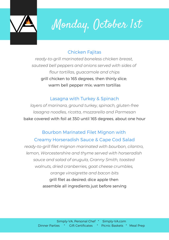 graphic design personal chef client menu meal prep