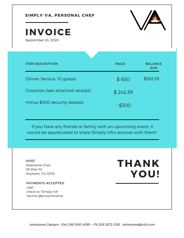 graphic design personal chef client invoice