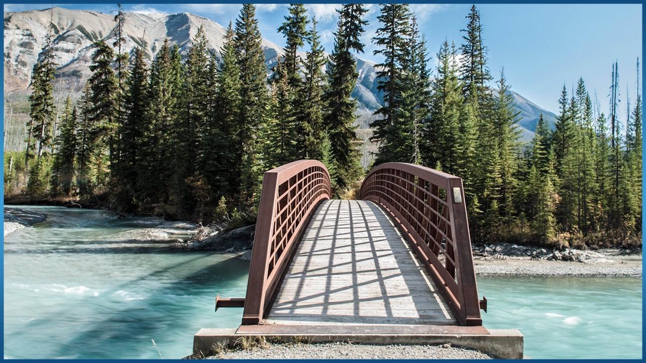 Bridge over fast running river