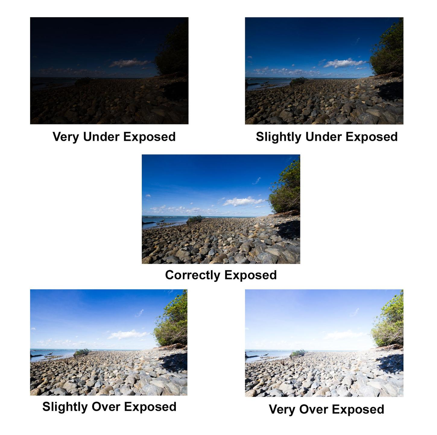 5 Photos of the same place at different exposures