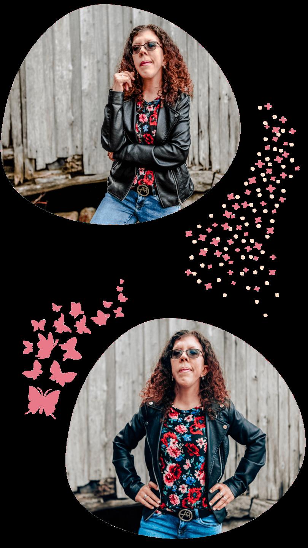 Linn Kleppa (åndelig veileder) i skinnjakke og blomstertopp. Høsten 2020.