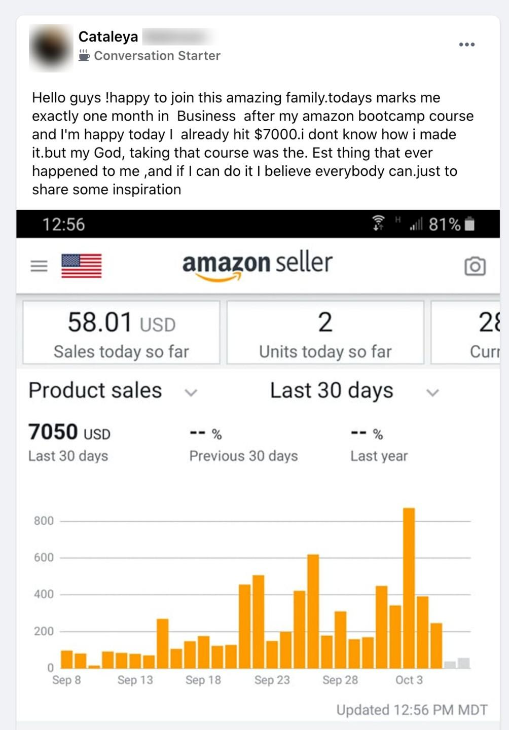 Cataleya Amazon Boot Camp testimonial